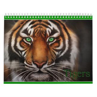 ojos azules de los tigres blancos calendario de pared