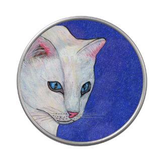 Ojos azules del gato blanco latas de dulces