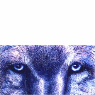 Ojos azules del lobo, escultura de la foto fotoescultura vertical