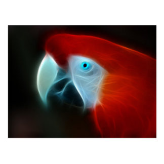 Ojos azules del loro rojo del fractal postales