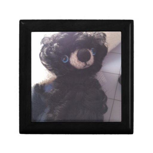 ojos azules del mini de peluche negro del oso joyero cuadrado pequeño
