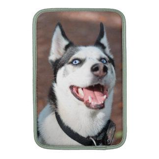 Ojos azules del perro del husky siberiano funda  MacBook