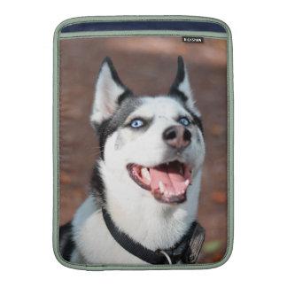 Ojos azules del perro del husky siberiano fundas macbook air