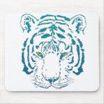 Ojos azules del tigre tapete de ratón