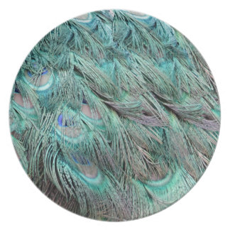 Ojos azules ocultados plumas verdes que fluyen plato para fiesta