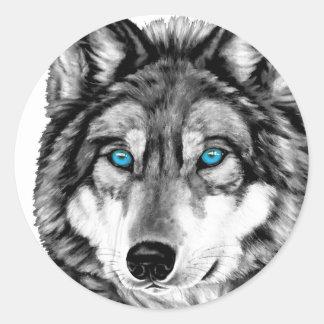 Ojos azules pintados del Grayscale del lobo Pegatina Redonda