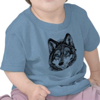 Ojos azules pintados del Grayscale del lobo Camisetas