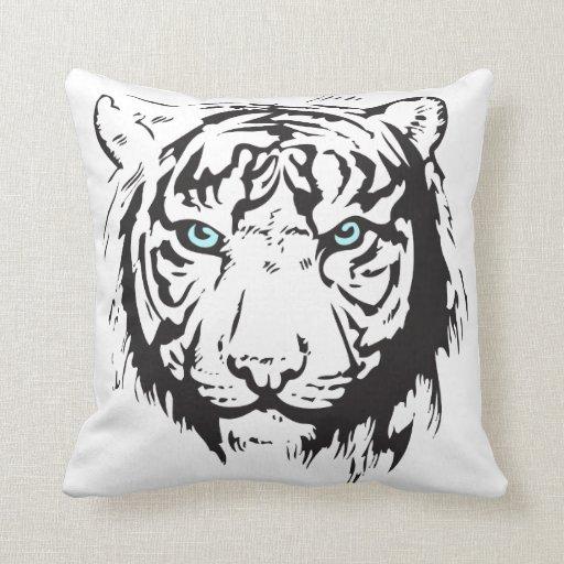 Ojos azules principales del tigre almohadas
