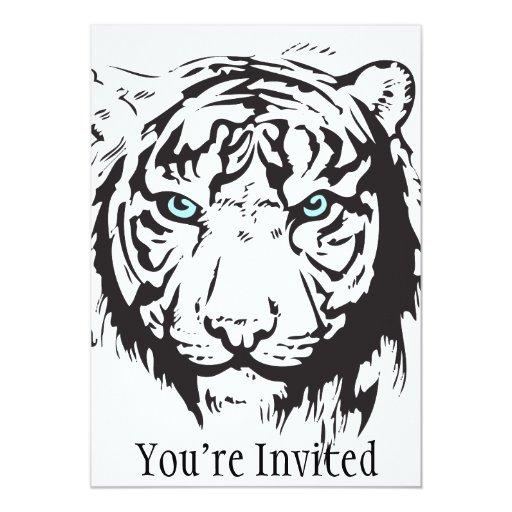"""Ojos azules principales del tigre invitación 5"""" x 7"""""""