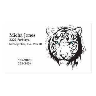 Ojos azules principales del tigre plantilla de tarjeta personal