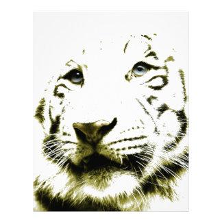 Ojos azules tigre blanco membrete a diseño