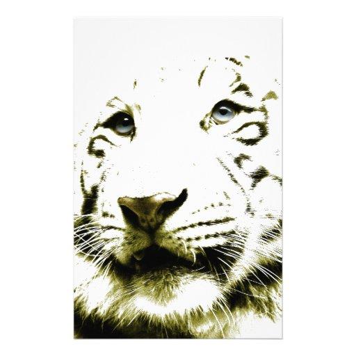 Ojos azules, tigre blanco papeleria personalizada