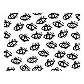Ojos blancos y negros gráficos postal