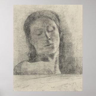 Ojos cerrados de Bertrand-Jean Redon Poster