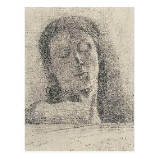 Ojos cerrados de Bertrand-Jean Redon Postal