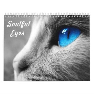 Ojos conmovedores del gato calendarios