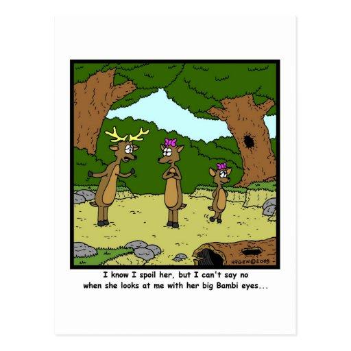 Ojos de Bambi: Dibujo animado de los ciervos Tarjeta Postal