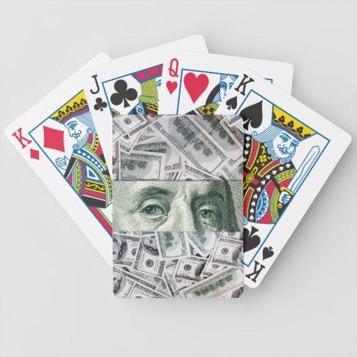 Ojos de Ben Franklin en la extensión del dinero de Cartas De Juego