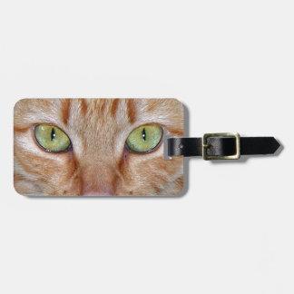 Ojos de gato anaranjados etiqueta de maleta