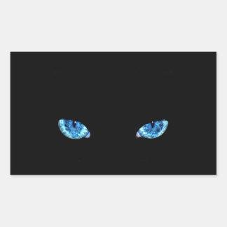 Ojos de gato de negro azul pegatina rectangular