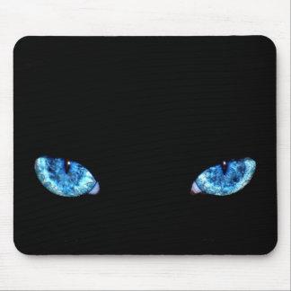 Ojos de gato de negro azul tapetes de ratón