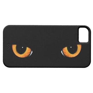 Ojos de gato negro intensos iPhone 5 carcasas