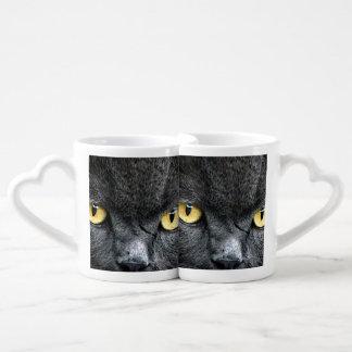 Ojos de gato negro taza para parejas
