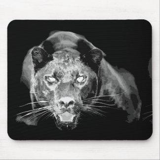 Ojos de gato negros de Wld Jaguar Mousepads