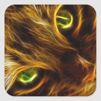 ojos de gato verdes del gatito del resplandor pegatina cuadrada