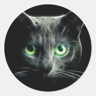 ojos de gato verdes del gatito del resplandor pegatina redonda