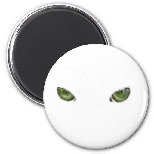 Ojos de gato verdes imán redondo 5 cm