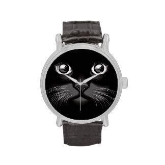 Ojos de la cara del gato negro relojes de pulsera