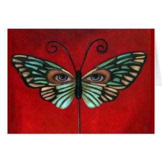 Ojos de la mariposa tarjeta de felicitación