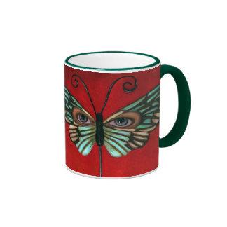 Ojos de la mariposa taza de dos colores