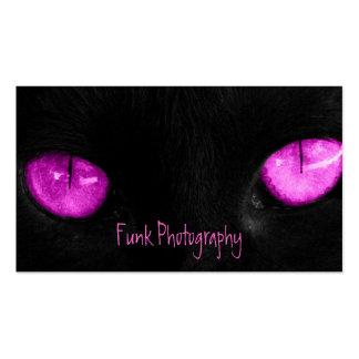 Ojos de la púrpura del gato negro de BPUR Tarjetas De Visita