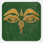 ojos de la sabiduría - oro pegatina cuadrada