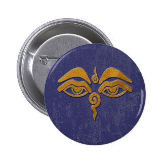 ojos de la sabiduría - oro pin redondo 5 cm