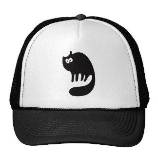 Ojos de ronroneo del negro del gato hola gorros