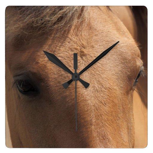 Ojos de un reloj de pared del cuadrado del caballo