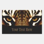 Ojos de un tigre personalizado etiqueta
