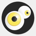 Ojos del amarillo etiquetas redondas