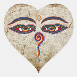 Ojos del der Weisheit de Buda/de Augen Pegatina En Forma De Corazón
