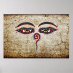 Ojos del der Weisheit de Buda/de Augen Poster