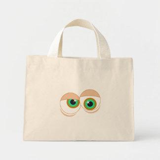 Ojos del dibujo animado bolsa tela pequeña