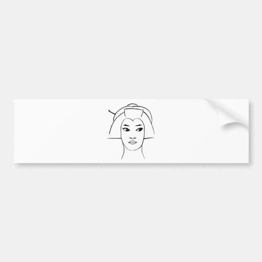 Ojos del geisha etiqueta de parachoque