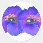 Ojos del hibisco - azul pegatina redonda