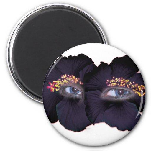 Ojos del hibisco - negro/púrpura iman de nevera