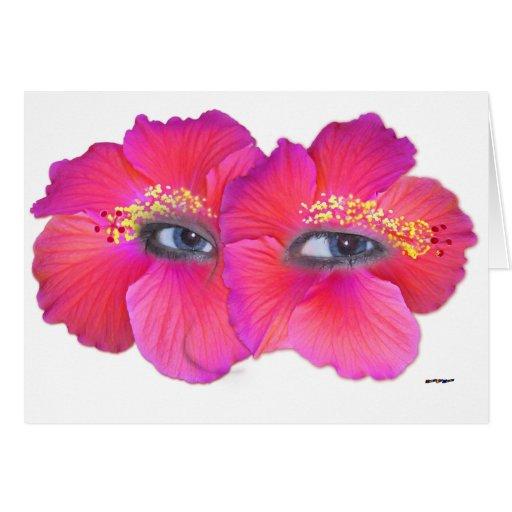 Ojos del hibisco - rosa tarjeta de felicitación