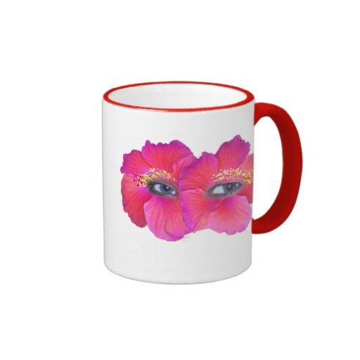 Ojos del hibisco - rosa tazas de café