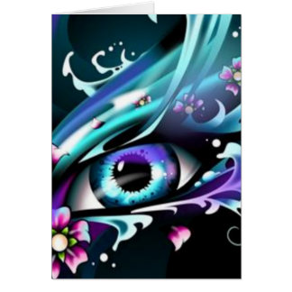 ojos del mar azul profundo tarjeta de felicitación